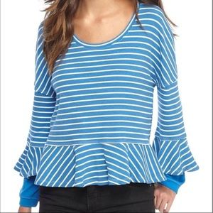 Free People Roundabout Blue Striped Ruffle Top
